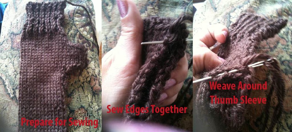 Step twenty: Weave Around Thumb Sleeve
